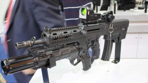 TAVOR GTAR 21 with 40mm Grenade Launcher, reflex sight and GLS sights
