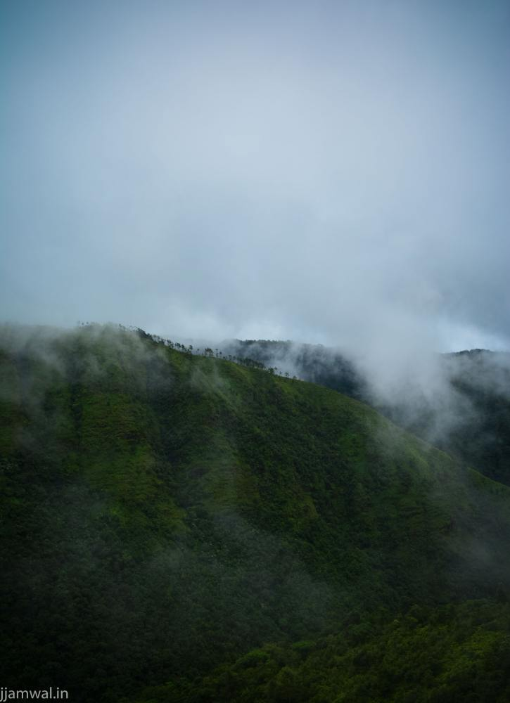 View of cloud covered hills on way to Cherrapunji