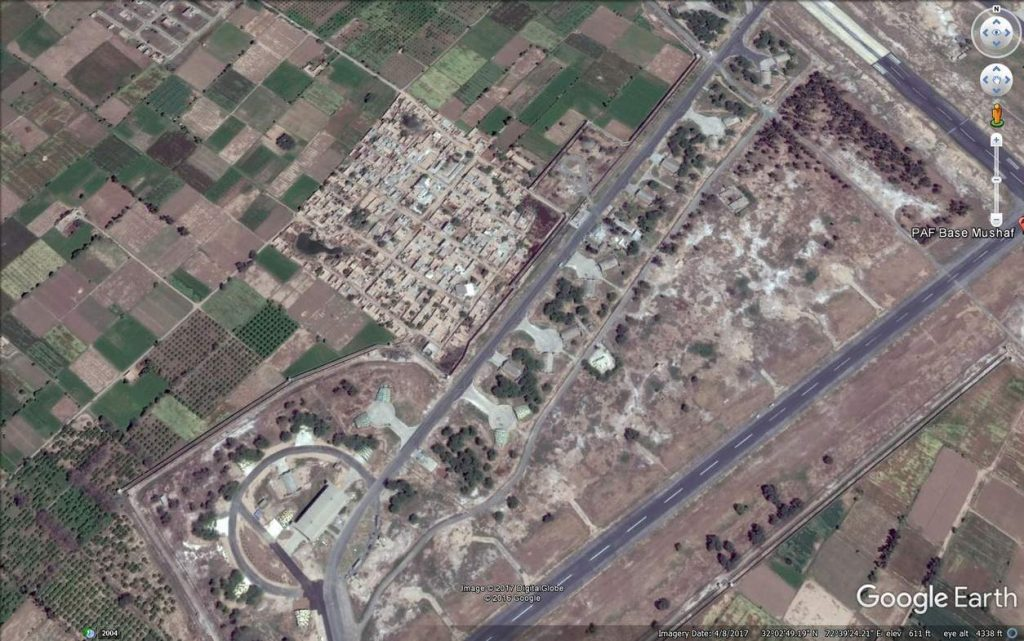Supposedly residential colony near aircraft shelters