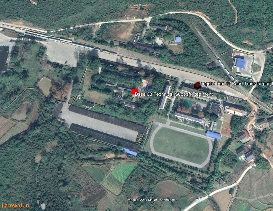 Technical Support Regiment HQ, 63rd Base. Rail-Road transfer point also visible